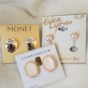 Set of three beautiful classic clip earrings